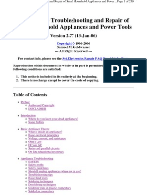 Troubleshooting and Repair of Small Household Appliances and ... on
