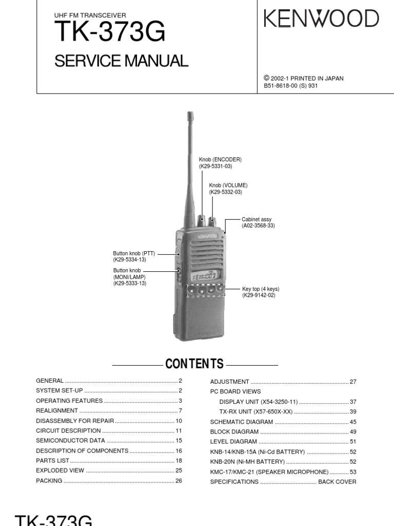 Kenwood Tk 373g Service Manual Amplifier Detector Radio Speaker Microphone Circuit
