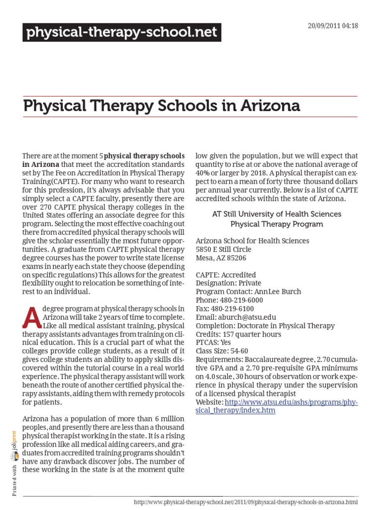 Arizona physical therapy schools - Physical Therapy Schools In Arizona Physical Therapy Academic Degree