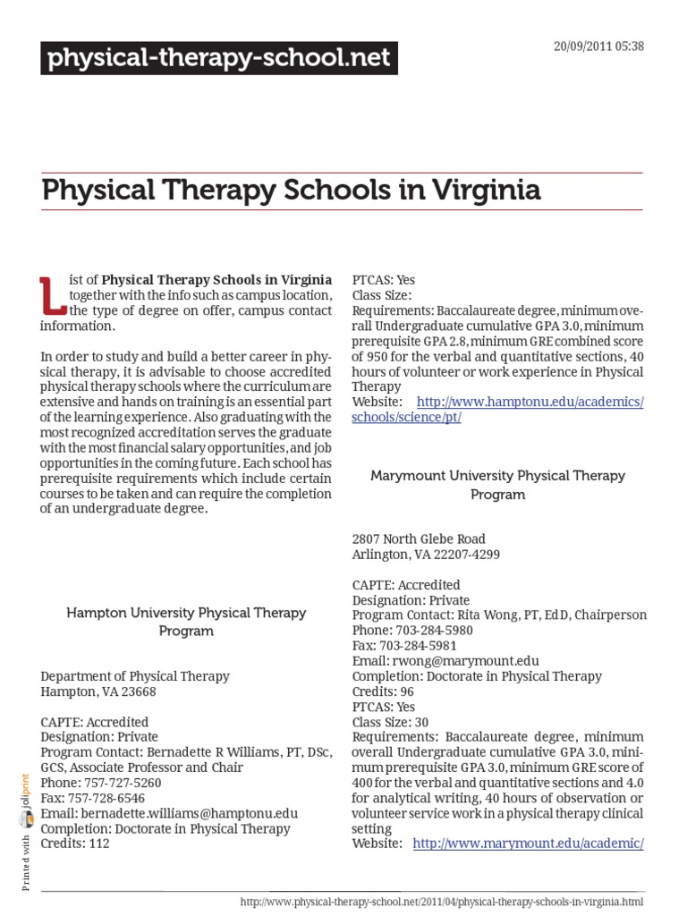 Physical Therapy Schools In Virginia Physical Therapy Graduate