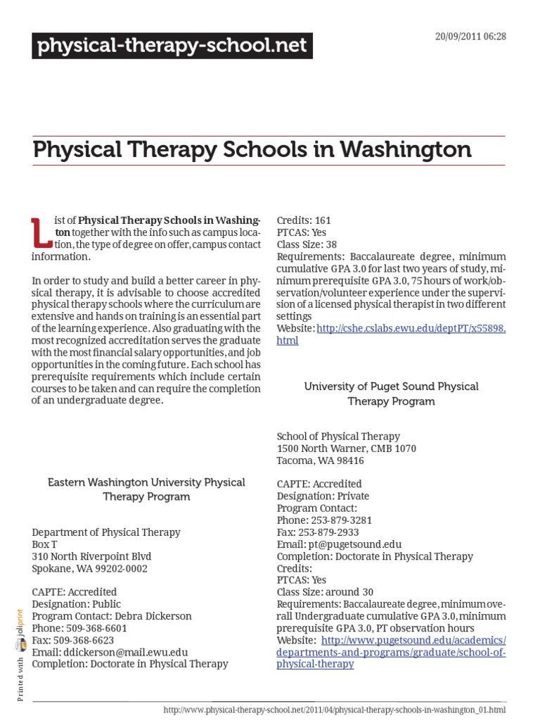 Degree doctoral physical therapy - Physical Therapy Schools In Washington Physical Therapy Bachelor S Degree