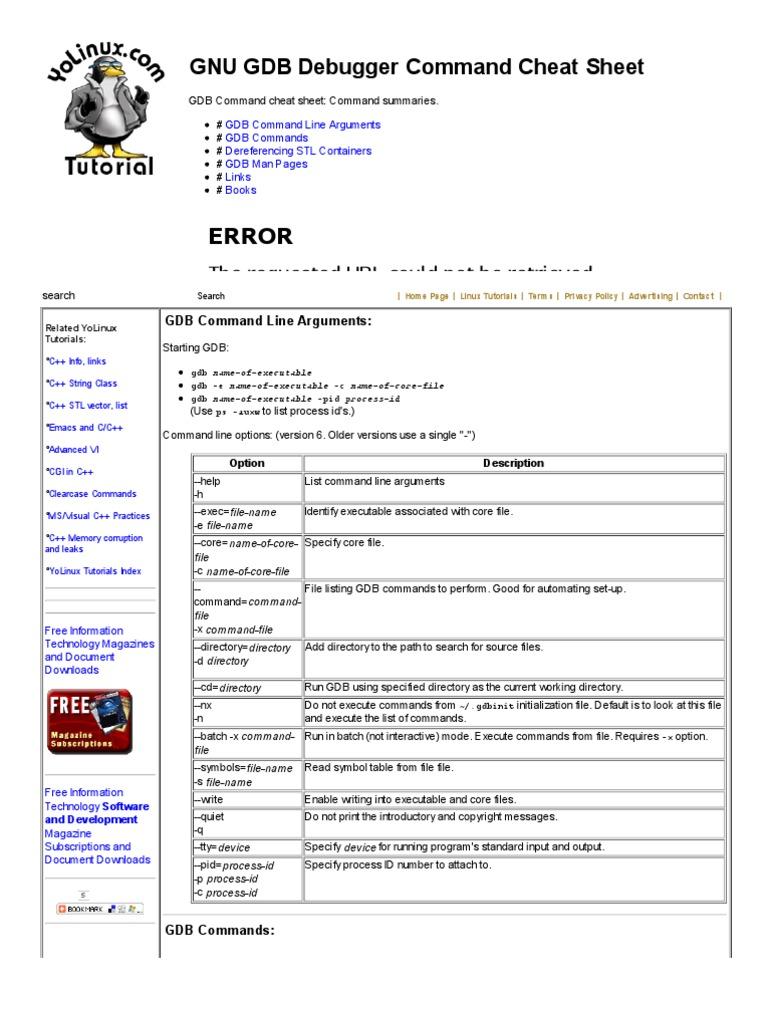 Linux Tutorial Gnu Gdb Debugger Command Cheat Sheet Variable