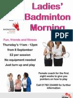 Ladies Badminton Morning