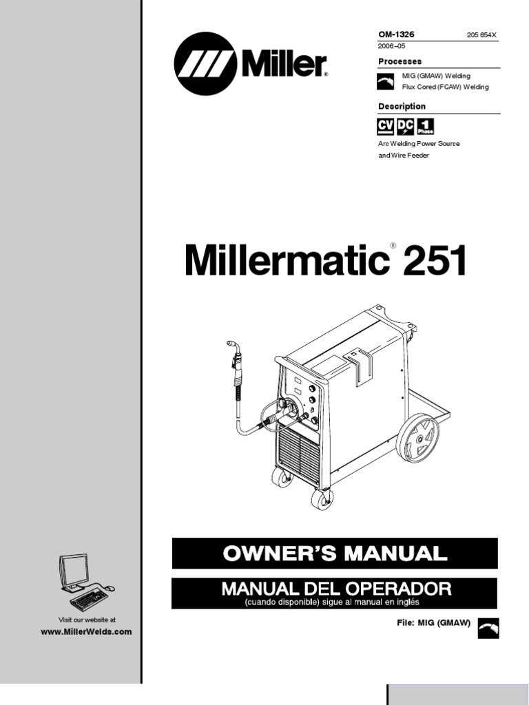 Miller Ma Tic 251 Owner Manual | Electricity | Nature