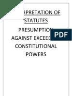 Presumption Against Exceeding Constitutional Powers