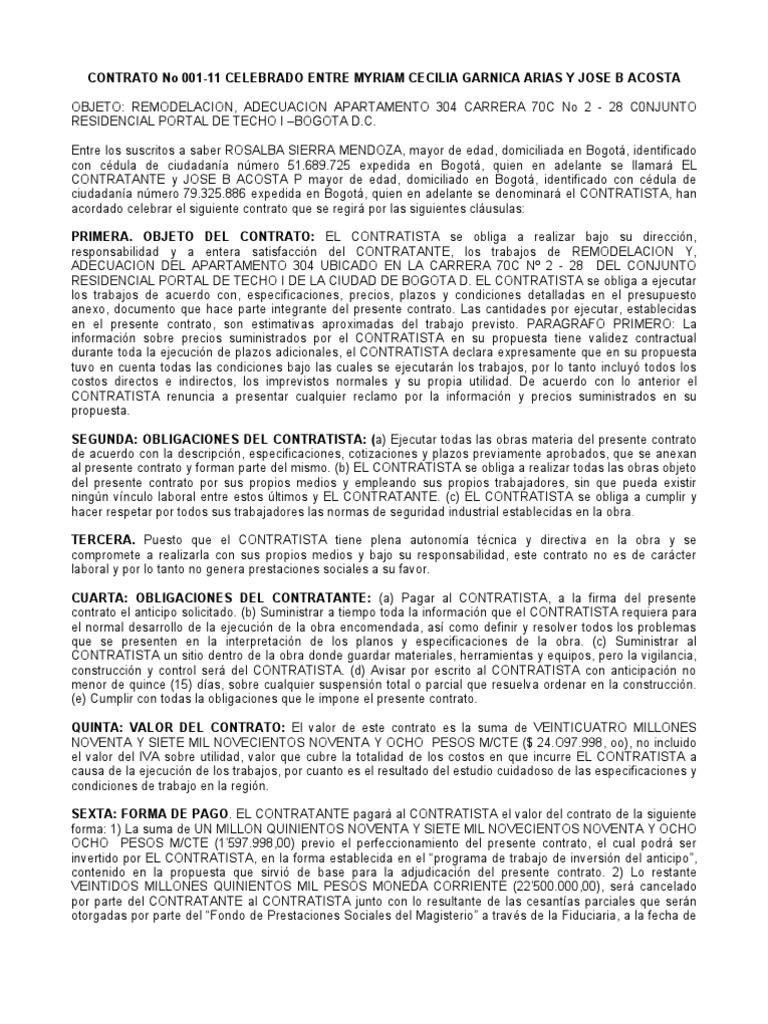 1726 contrato remodelacion Modelo de viviendas para construir