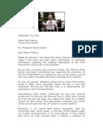 September 18, 2011 Letter to Mayor Walkup