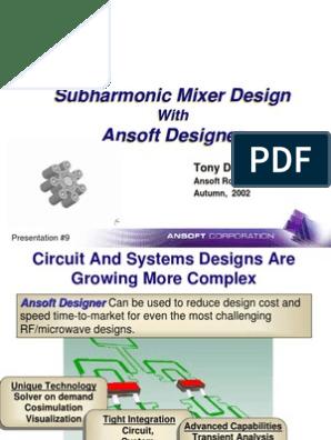 Sub Harmonic Mixer Design With Ansoft Designer | Electronic