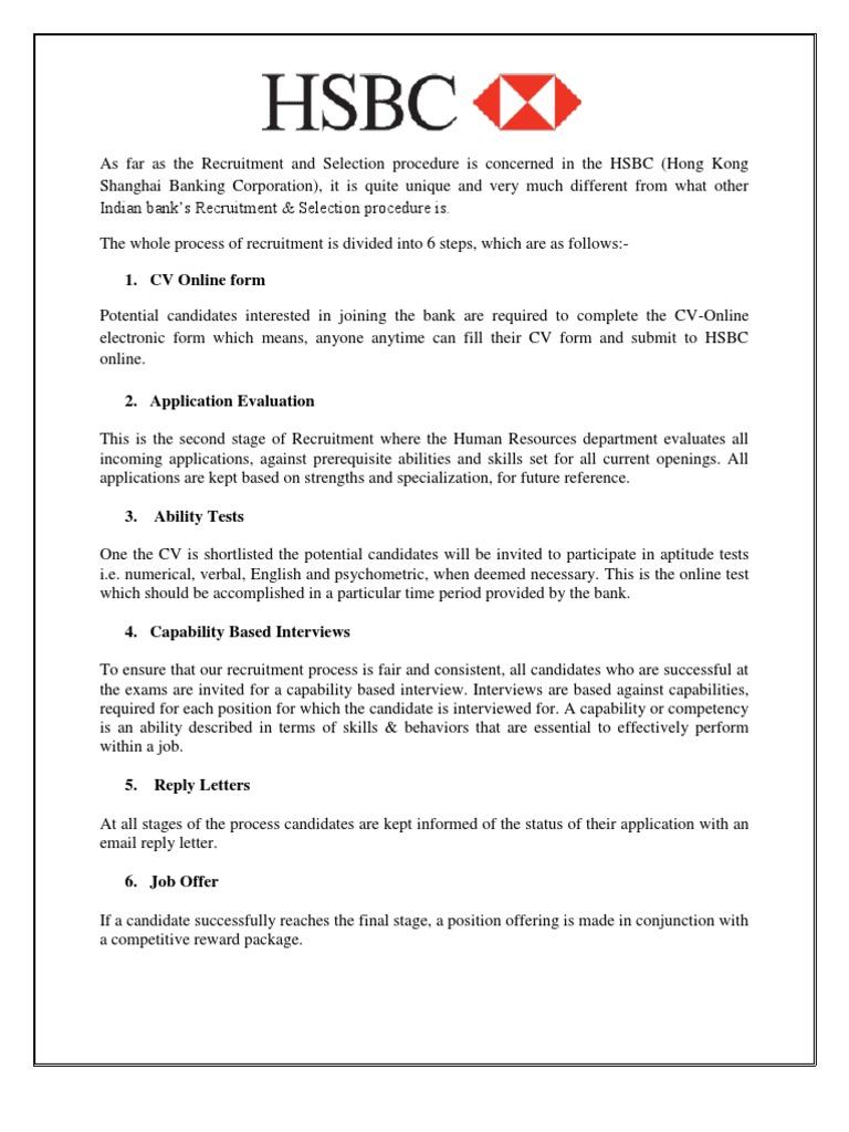 Hsbc | Reclutamiento | Prueba (Evaluación)