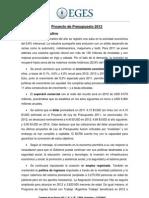 Informe General sobre el Presupuesto 2012