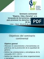 PRESENTACION DE LA CAMPAÑA -SEMINARIO CONTINENTAL