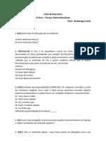 Lista de Exercício - Forças Intermoleculares
