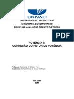 relatório 01 - Potência e Correção do Fator de Potência