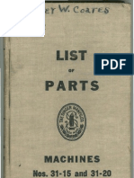 List of Parts Singer 31-15 and 31-20