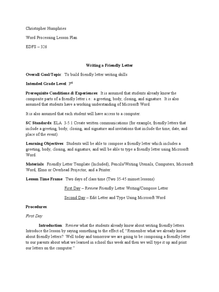 lesson plan in writing friendly letter