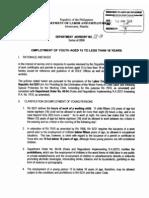 DOLE Advisory No 01-08 Employment of Youth Aged 15