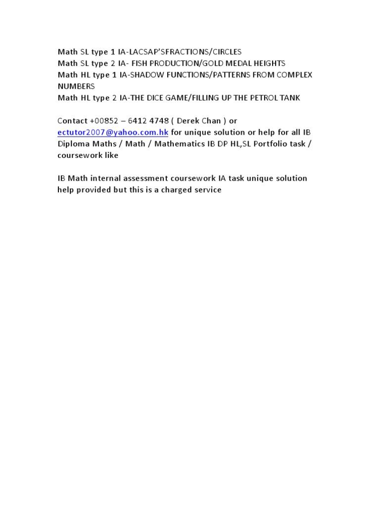 IB Diploma Maths / Math / Mathematics IB DP HL,SL Portfolio task