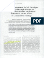 From I-O Economics' S-C-P Paradigm Through Strategic Groups to Competence-Based Competition