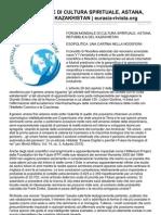 Forum Mondiale Di Cultura Spirituale Astana Repubblica Del Kazakh is Tan