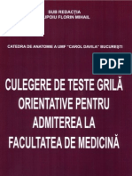 Biologie - Teste Admitere Medicina 2011, Bucuresti