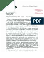 Carta enviada al Ministro de Defensa