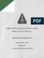 Skema PERCUBAAN STPM Geografi Kertas 2 Stpm Negeri Johor 2011