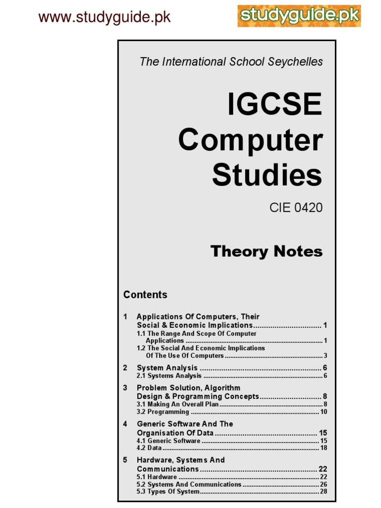 Computer Studies Notes   Computer Data Storage   Computer Program