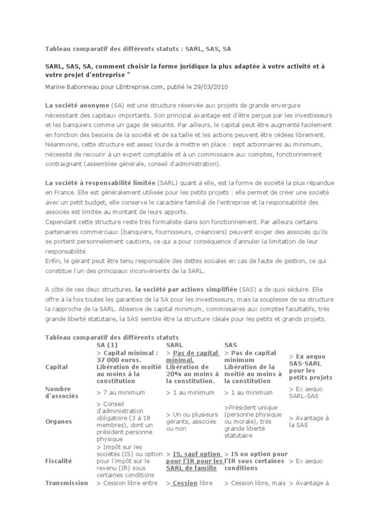 Tableau Comparatif Des Differents Statuts Affaires Gouvernement