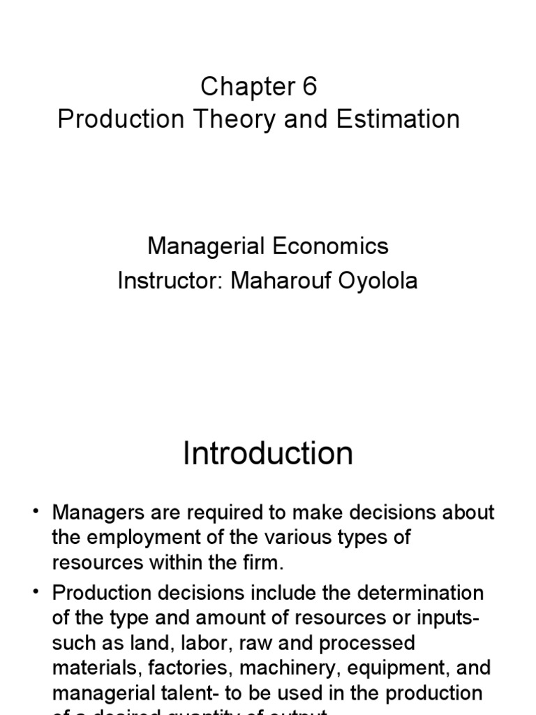 Managerial Economics (Chapter 6) | Factors Of Production | Production  Function