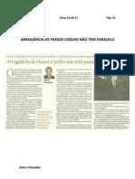 Artigo Opinião Arrogancia Passos Coelho não tem paralelo - Publico 21-9-11