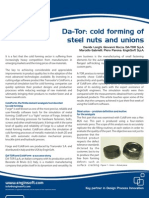 Simulation of Cold Forming of a steel union at DA-TOR S.p.A.