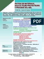 Formation Continue Elaboration Materiaux Nanomateriaux Films Par Procede Sol-gel 2012