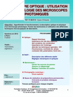 Formation Continue Microscopie Optique Microscopes Photoniques 2012