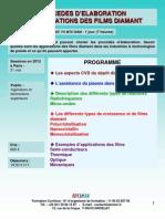 Formation Continue Procédés d'élaboration & applications des films diamant 2012
