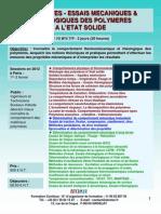 Formation Continue Propriétés mécaniques des polymères à l'état Solide 2012