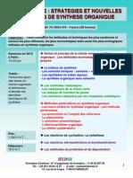 Formation Continue Stratégies Et Nouvelles Méthodes de Synthèse Organique 2012