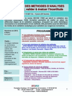 Formation Continue Validation Des Méthodes d'Analyses 2012