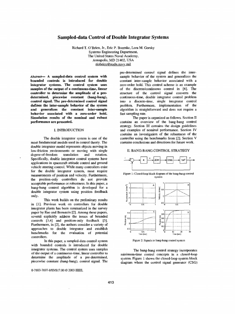 Double Integrator Systems | Control Theory | Control System