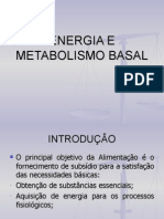 Energia e Metabolismo Basal- Aula 2