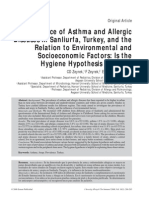 Prevalence of Asthma and Allergic in Turkey