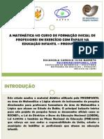 A MATEMÁTICA NO CURSO DE FORMAÇÃO INICIAL DE
