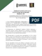 Seminario-Cátedra. Prácticas Intelectuales y Refelxividad. UNSa.SPU