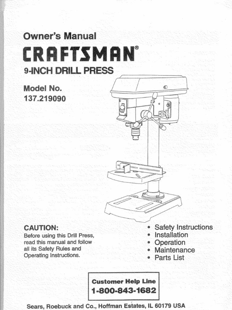 Craftsman Drill Press 137219090 L0711529 Belt Mechanical Parts Diagram Wiring List For Model
