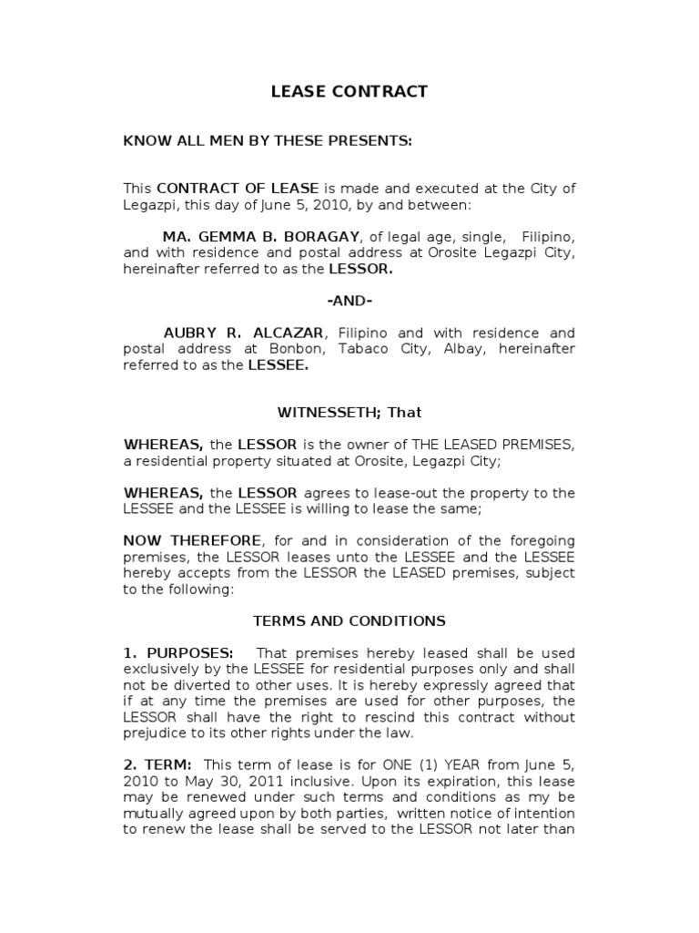 lease contract for submisssion lease common law
