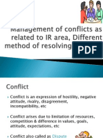 3.Mgmt of Conflicts as Related to IR Area, Different Method of Resolving Conflicts