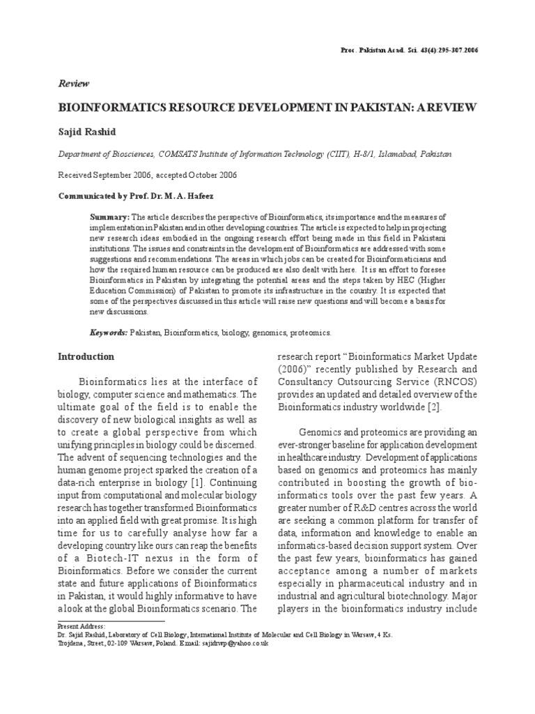 Bioinformatics Resource Development In Pakistan A Review By