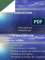 l'irrigation