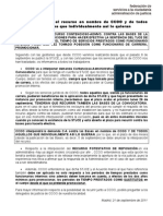 CCOO RECURRIRÁ LAS BASES DE LAS OPOSICIONES, 21-9-2011