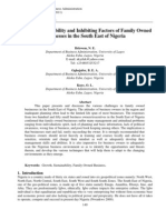 Growth, Sustainability and Inhibiting Factors of Family Owned Business in the South East of Nigeria
