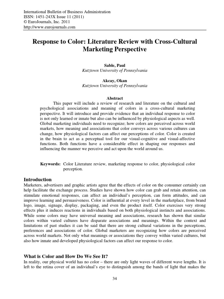 Response To Color Literature Review With Cross Cultural Marketing